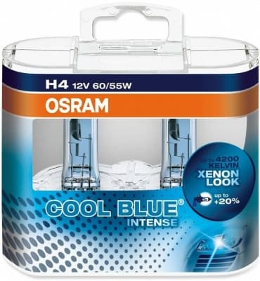 Лампа галогенная Osram Cool Blue Intense H4 (P43t) 12V 60/55W DuoBox (2шт.)