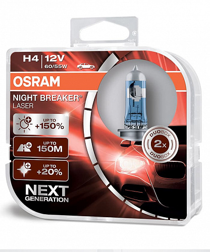 Лампа галогенная Osram Night Breaker Laser +150% H4 (P43t) 12V 60/55W (2шт) DuoBox