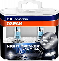 Лампа галогенная Osram Night Breaker Unlimited +110% H4 (P43t) 12V 60/55W (2шт) DuoBox